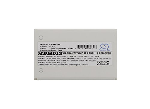 CS-NKB2MX Batería 1000mAh Compatible con [Nokia] 3610, 5210, 6500, 6510, 6590, 6590i, 7150, 7650, 8210, 8250, 8270, 8290, 8310, 8390, 8850, 8850G, 8890, 8910, 8910i, [Bell & Howell] BH725 sustituye B
