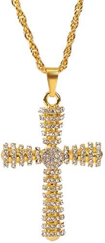 NC134 Diseño Creativo Hip Hop joyería Oro Plata Color Diamantes de imitación Cruz Colgante Collar Mujeres Hombres Cadena Larga declaración Collar Regalo