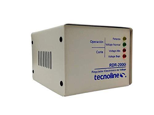 Tecnoline® RDR-2000i Beige Regulador de Voltaje, Exclusivo Refrigeración, Lavadoras. 2000W, 600J, con Límites y Retardo para Protección