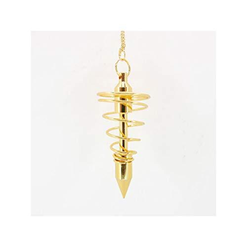 Pendulo Metalico Espiral Dorado Grande Minerales y Cristales Para Curación, Belleza Energética, Meditacion, Medicina Alternativa, Amuletos Espirituales