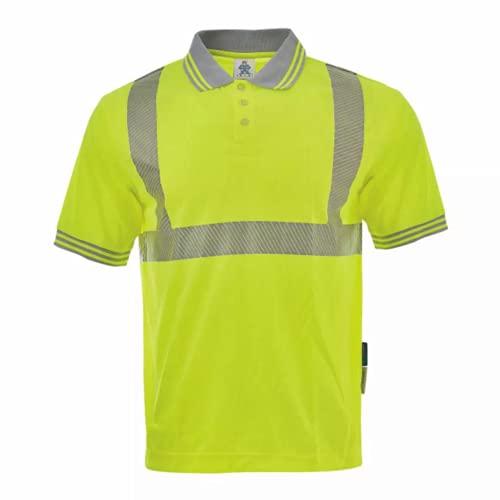 Polo de trabajo de alta visibilidad de manga corta de poliéster con cintas reflectantes, talla XL-amarillo neón.