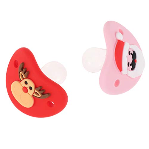 Amosfun 2pcs Funny Christmas Baby Pacifiers Reindeer Santa Baby Dummy Pacifier Prank Dummy Teether Nipple for Infant Xmas Holiday Party Favors