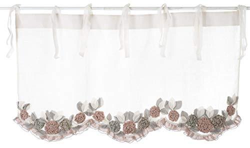 Blanc Mariclo Cantonnière à Fleurs 135 x 70 Rose Garden Collection en Lin