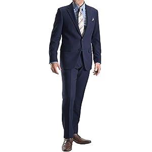 【MARUTOMI】スーツ メンズ 2ツボタン ウールライク 起毛素材 織柄 ビジネススーツ 洗えるパンツ パンツウォッシャブル プリーツ加工 紳士服 suit 【スーツハンガー付属】 E:ネイビージオメトリック 29A-10-A6
