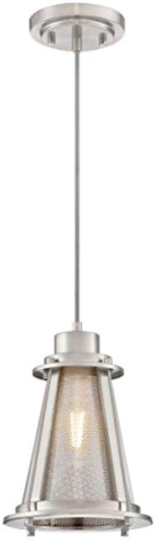 63618 Einflammige Pendelleuchte für den Innenbereich, Ausführung in gebürstetem Nickel mit Metallgeflecht und Klarglas