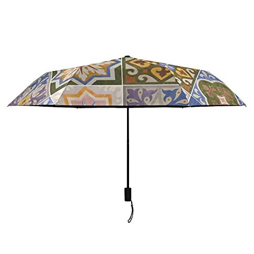 Paraguas de viaje para hombre, diseño de flores y azulejos marroquíes, compacto, portátil, ligero, resistente al viento, paraguas de viaje compacto para el sol, lluvia, perfecto para viajes