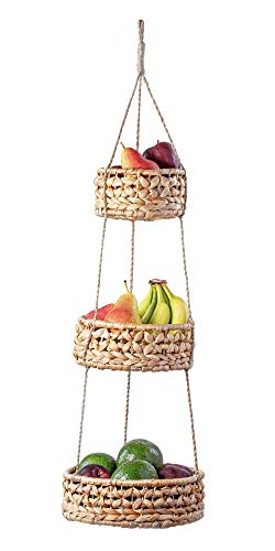 3 Tier Hanging Fruit Basket, Natural Woven Seagrass Wicker Baskets, Kitchen Fruit Storage Organizer, Plant Holder, Handmade Modern Boho Home Decor, Countertop Space Saver for Fruits or Vegetables