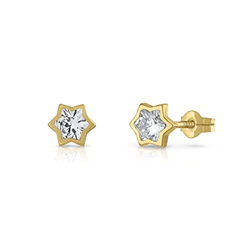 Pendientes Oro de Ley Certificado. Niña/Mujer. Diseño Estrella. Cierre de presión. Medida 5 mm. (4-ch-e-5)