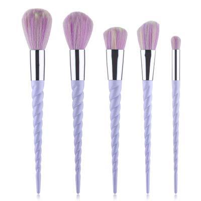 Pinceaux de maquillage 5 pièces maquillage Brush Set, 5 Pièces Fondation professionnelle Blending blush liquide crème en poudre visage yeux cosmétiques Brosses 5 pinceaux de maquillage Unicorn,Violet