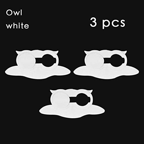 3PCS/SET Owl Shape WebCam Cover Shutter Magnet Slider Plastic Camera Cover For Web Laptop for PC Tablet Privacy;white Candybarbar