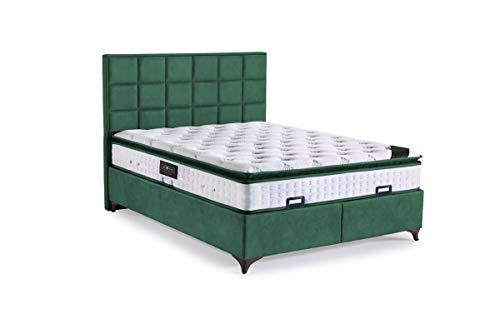 Cama con somier Rhodos con canapé de tela, cama doble color verde oscuro, superficie de descanso 180 x 200 cm