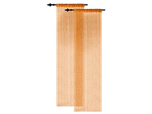 Doppelpack zum Sparpreis - filigrane Fadenvorhänge - Wohndekoration in modernem Design - in 4 verschiedenen Unifarben - mit einer Stoffbreite von ca. 90 cm und einer Stoffhöhe von 220 cm, terra