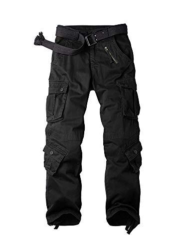Mesinsefra Herren-Arbeitshose aus Baumwolle, Camouflage, mit 8 Taschen, Schwarz, Größe 40