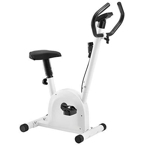 ProTec Cyclette da Allenamento - Fitness Bike per casa con LCD Display - Bianco - Peso Massimo 100kg