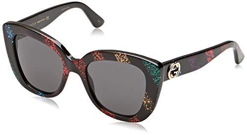 Gucci GG0327S-003 Occhiali da Sole, Nero (Nero/Multicolor), 52.0 Donna