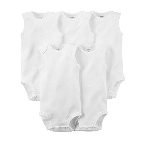 Carters Unisex Baby 5-Pack Sleeveless Original Bodysuits, White, 24M