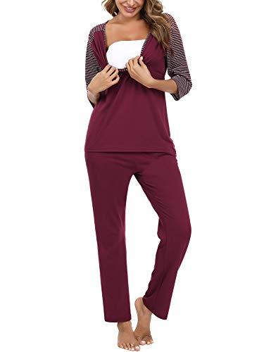 Doaraha Conjunto de Pijamas de Maternidad y Enfermería para Mujer Rayas Manga Media Pijama Premamá Lactancia Camiseta y Pantalones Algodón Embarazo Ropa de Dormir (Rojo, XL)