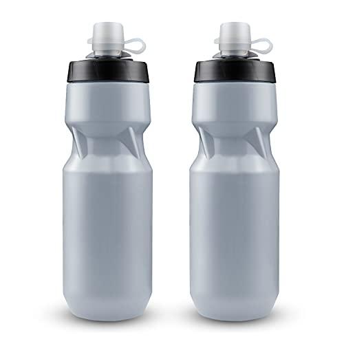 Botella de Agua Para Bicicleta de 2 Piezas - Botellas de Agua Deportivas Para Apretar 24 oz - con Cubierta de Silicona Para el Polvo