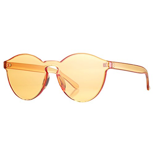 Pro Acme One Piece Design Rimless Sunglasses Ultra-Bold Colorful Mono Block (Orange)
