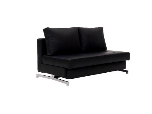 J and M Furniture Premium Sofa Bed K43-2 in Black Leatherette,