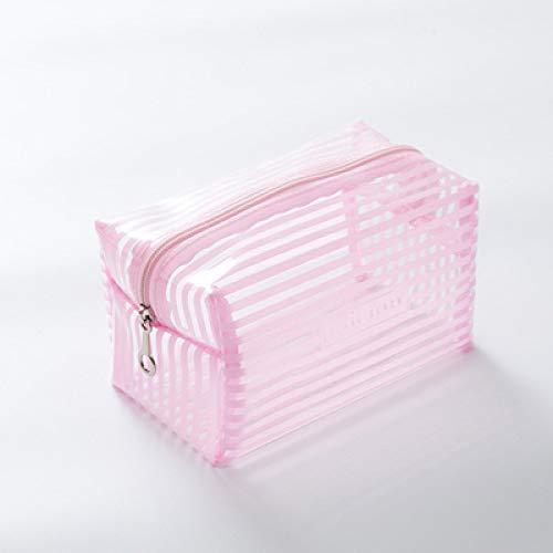LSZA Bolso de Cosméticos,Portable Waterproof Transparent Makeup Bag Fashion Striped Zipper Cosmetic Organizer Women Travel Toiletry Bag,Pink,Size L
