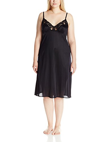 Vassarette Women's Signature Lace Full Figure Anti-Static Full Slip 10805, Black Sable-28 Inch,44