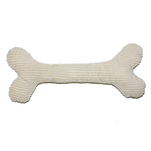 Grüne Pfote Öko Hundespielzeug Stoffspielzeug aus Cord GROSSER Knochen AUS Stockholm mit Bio Dinkelfüllung schadstofffrei Creme blau (Creme weiß, ohne Zusatzfüllung)