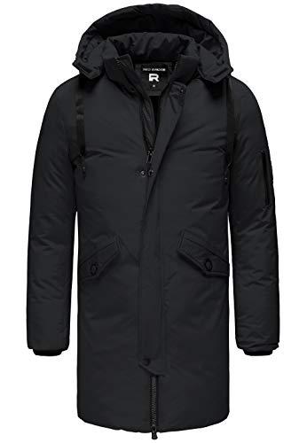 Redbridge Herren Parka Jacke Mantel Winterjacke Long Basic mit Kapuze Schwarz S
