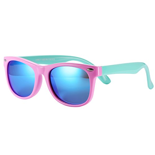 Pro Acme TPEE Rubber Flexible Kids Polarized Sunglasses for Baby and Children Age 3-10 (Pink Frame/Blue Mirrored Lens)