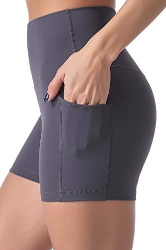 "Sunzel 8"" / 5"" Biker Shorts for Women with Pockets, High Waisted Yoga Workout Shorts (5"" Gray, M)"