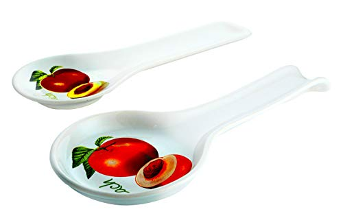 Peach Pattern Double Spoon Rests Set - Good Ceramic Ladle and Utensil Holder for Counter Stove Top - Useful Kitchen Gift Idea