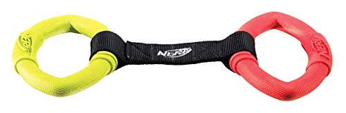 Nerf Dog Hundespielzeug 2 Ring Strap Tug, 2 Ring Ziehspielzeug für Hunde, mehrfarbig