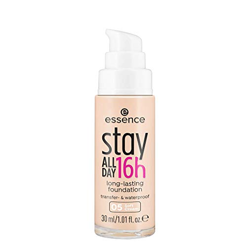 essence stay ALL DAY 16h long-lasting Foundation, Make Up, Nr. 05 Soft Cream, nude, für Mischhaut, langanhaltend, mattierend, weichzeichnend, matt, vegan, ölfrei, wasserfest, 3er Pack (3 x 30ml)