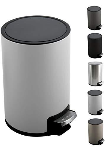 Spirella Kosmetikeimer 5 Liter Edelstahl mit Absenkautomatik und Inneneimer Riku Badezimmer Mülleimer Softclose Abfalleimer weiß