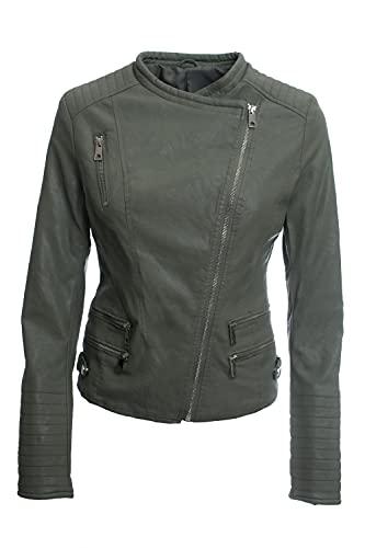 Jophy & Co - Chaqueta Biker Corta - Chaqueta de mujer - Confeccionada en piel ecológica con bolsillos frontales y laterales - Mod. n. 33108 verde militar L