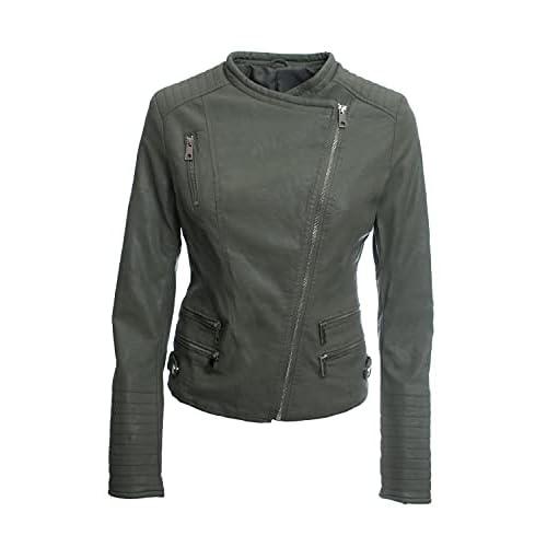 Jophy & Co - Chaqueta Biker Corta - Chaqueta de mujer - Confeccionada en piel ecológica con bolsillos frontales y laterales - Mod. n. 33108 a buen precio