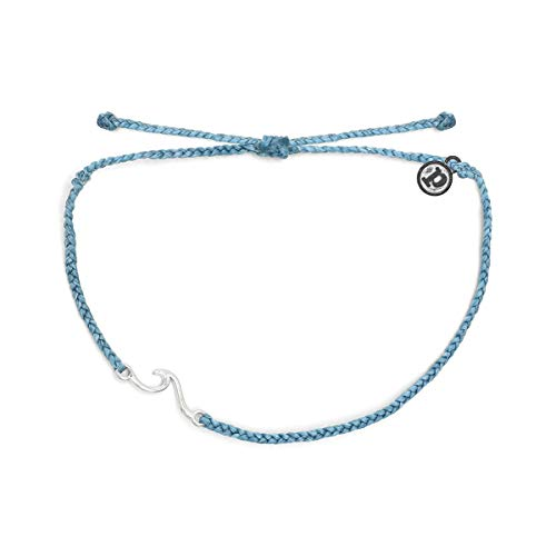 Pura Vida Silver Shorebreak Anklet w/Plated Charm - Adjustable Band, 100% Waterproof - Sky Blue
