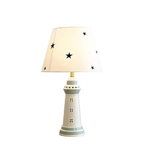 Lfixhssf Carino keramische tafellamp koplamp kinderen stoffen kap eyecare decoratieve lamp woonkamer studio lezen nachtkastje licht Lfixhssf (kleur: groen)