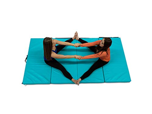 MDUB Active 2#039x6#039 x 2in Thick Exercise Mat | AntiTear High Density Folding Activity Mat w/Carrying Handles | Hook and Loop Fastener | for Stretching Aerobics Home Fitness Yoga | Teal