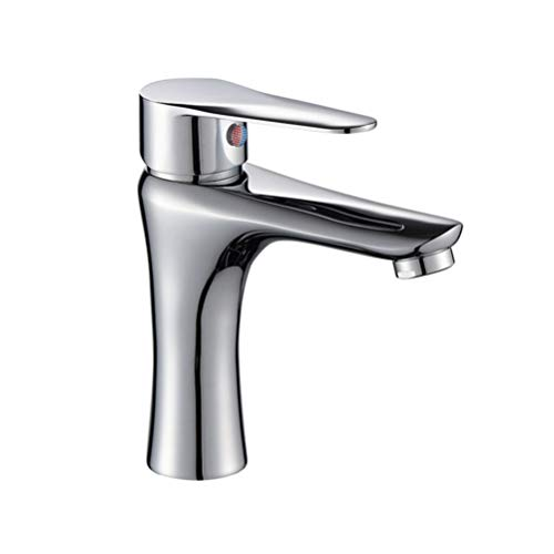 TOPBATHY Grifo monomando para lavabo (caño en cascada, sin manguera caliente y fría)