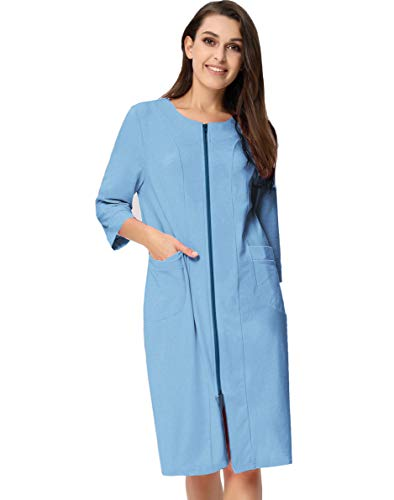 Zexxxy 3/4 Sleeve Knit Zippered Robes for Women Sleepwear Robe Knee Length Lounger Robe Baby Blue M