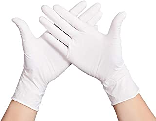 White Nitrile Gloves Disposable Industrializationd Latex Glove Safety Disposable Gloves 100pcs (Color : White, Size : L-Thin)