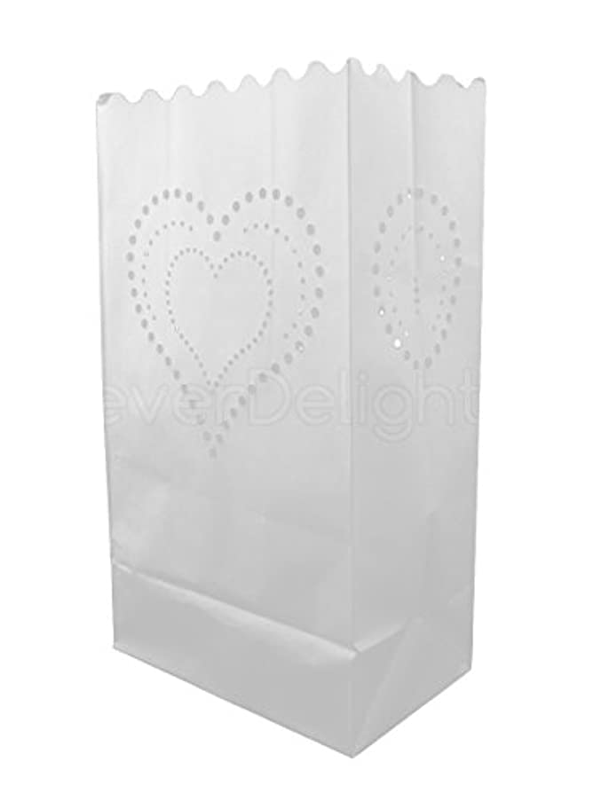 CleverDelights White Luminary Bags - 50 Count - Heart of Hearts Design - Flame Resistant Paper - Wedding, Reception, Party and Event Decor - Luminaria Candle Bag
