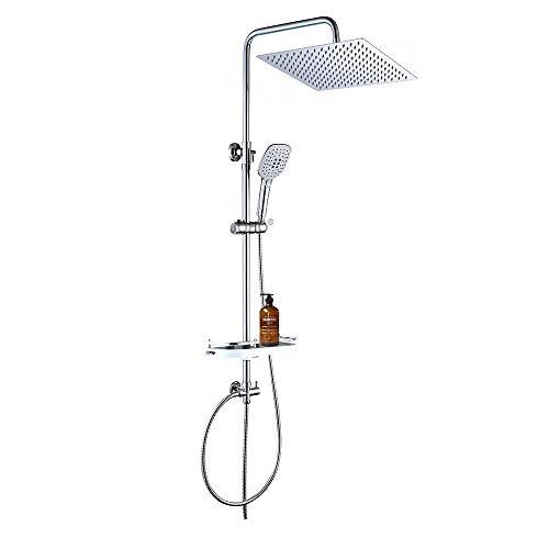 JOHO Conjunto de ducha Sistema de ducha de lluvia Columna de ducha de acero inoxidable con estante(30 * 30cm cuadrado CP)