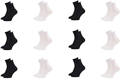 Rainbow Socks - Damen Herren Klassische Bunte Bambus Socken - 12 Paar - Schwarz Weiß - Größen 36-38