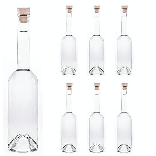 slkfactory - Juego de 6 Botellas de Cristal vacías de 500 ml OPI-HGK con tapón de Corcho, para Rellenar, 0,5 litros, Botellas de Licor de 500 ml