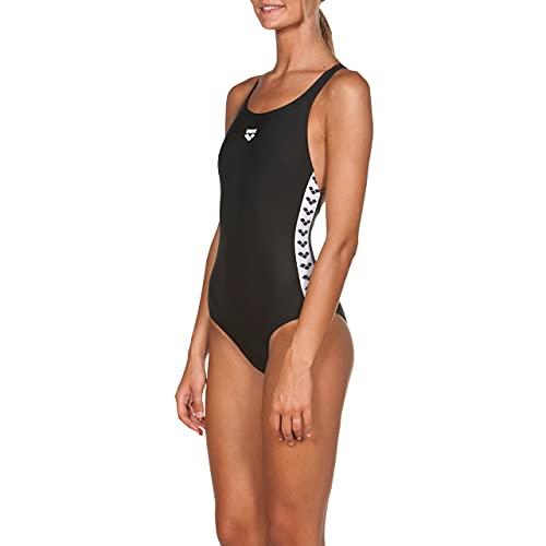 ARENA Icons Team Fit Costume Intero Donna, Costume da Bagno Sportivo in Tessuto MaxFit Resistente al Cloro e al Sale con Protezione UV UPF 50+, 44 , Nero (Black)