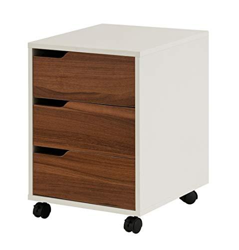 hjh OFFICE 674320 Rollcontainer Organiser Walnuss/Weiß Büro Beistellschrank mit Schubladen und Rollen