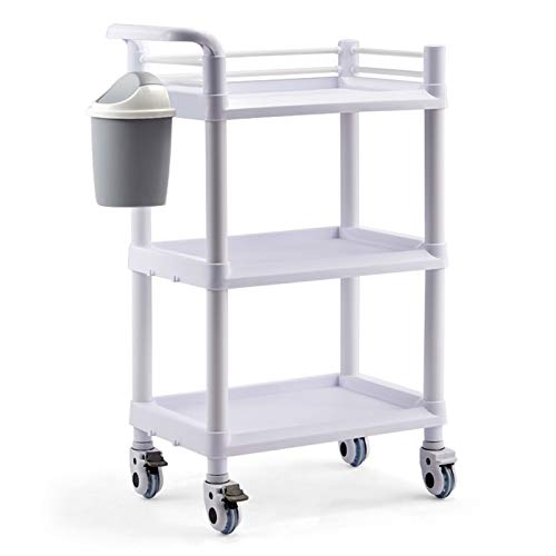 GGBOY Lab Serving Cart, Shelf ABS Rolling Cart with Silent Omnidirectional Lockable Wheel (2/3 Layers)