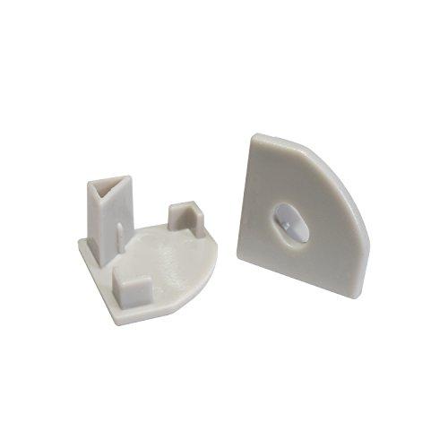 2x Endkappen für das LED Alu-Modell ECKE-45 von Alumino® eins ohne und eins mit Bohrung für das LED-Kabel